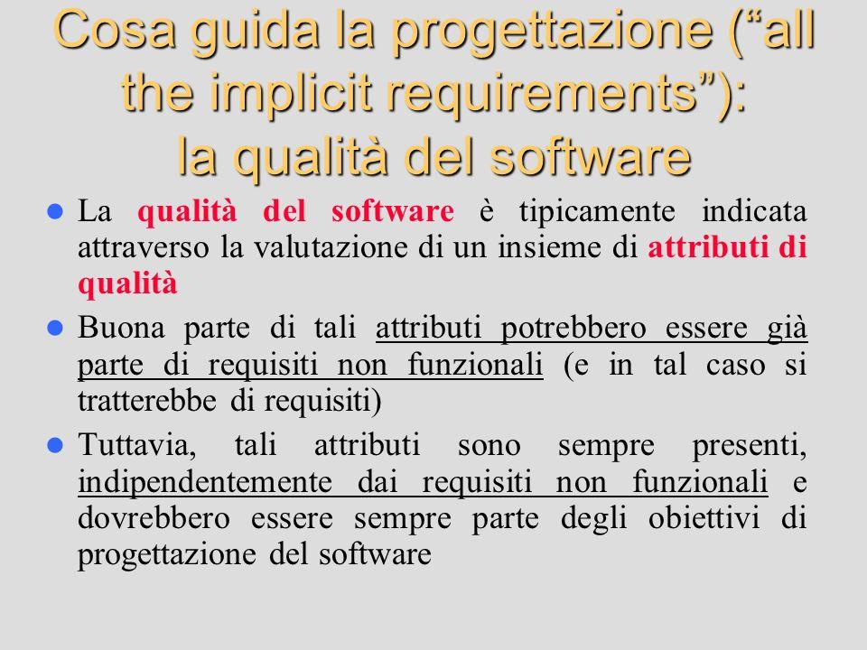Cosa guida la progettazione (all the implicit requirements): la qualità del software La qualità del software è tipicamente indicata attraverso la valu