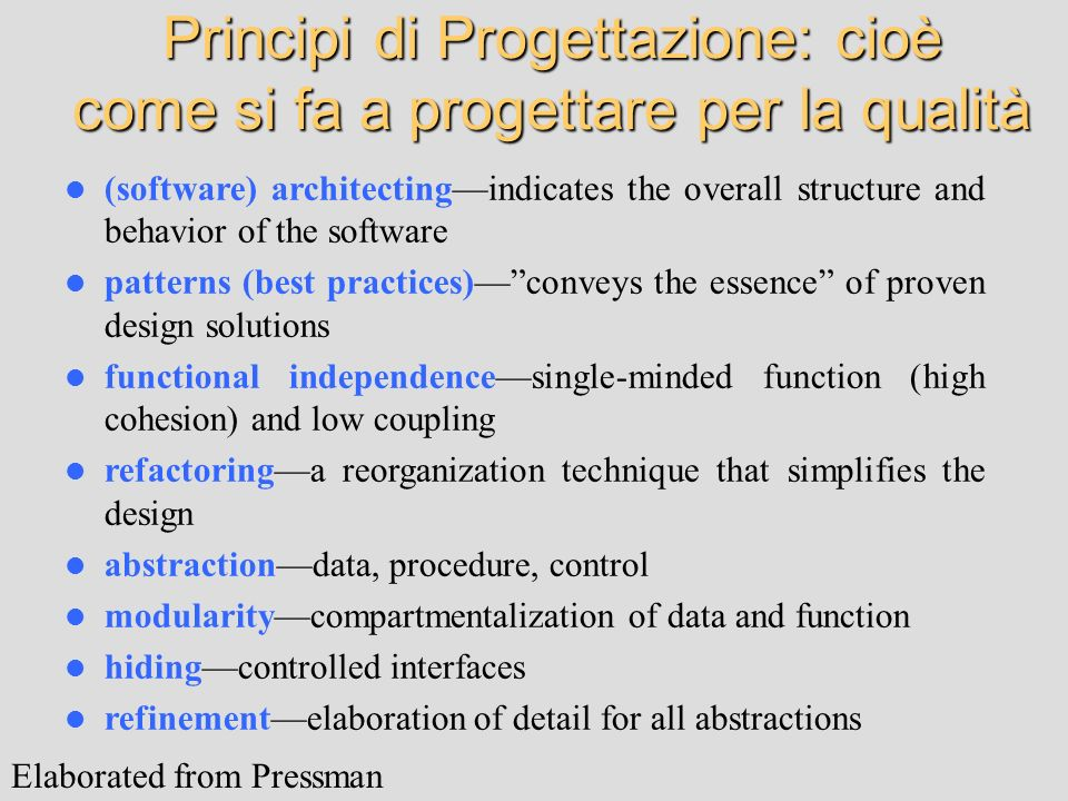 (software) architectingindicates the overall structure and behavior of the software patterns (best practices)conveys the essence of proven design solu