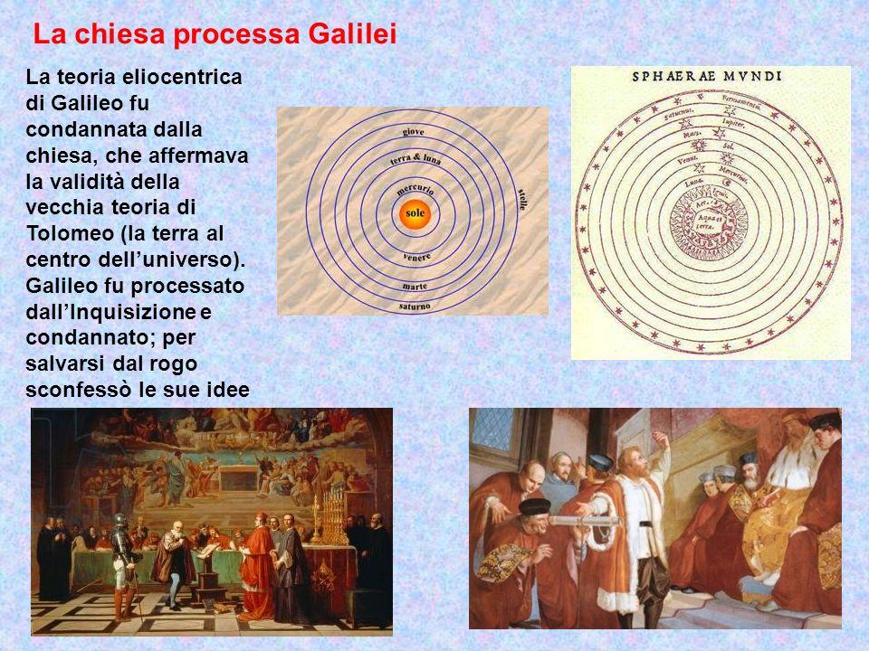 La chiesa processa Galilei La teoria eliocentrica di Galileo fu condannata dalla chiesa, che affermava la validità della vecchia teoria di Tolomeo (la