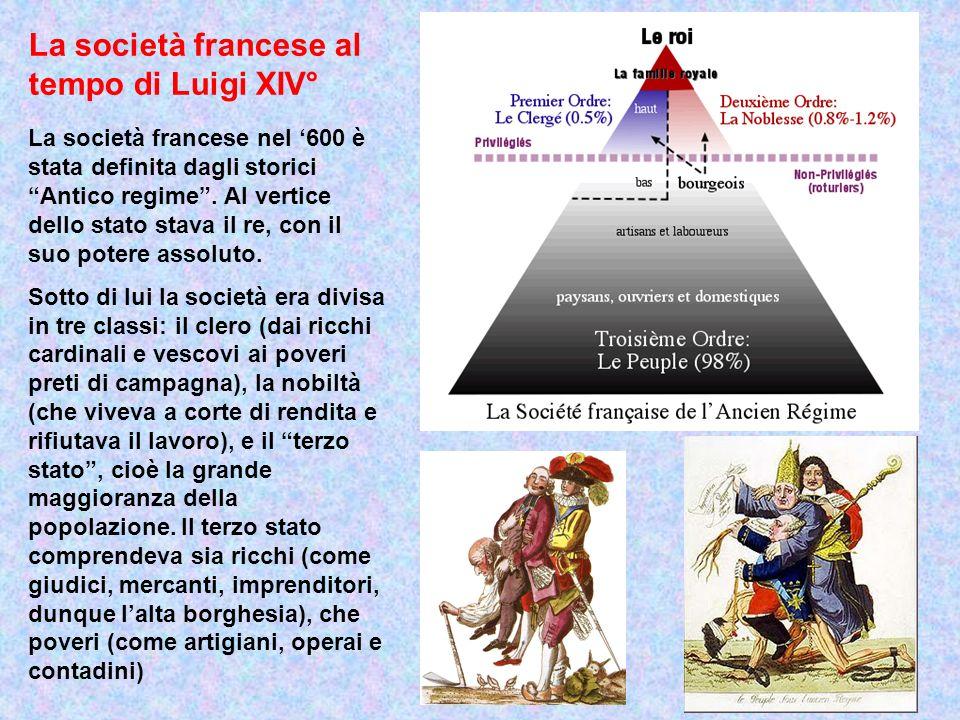 La società francese al tempo di Luigi XIV° La società francese nel 600 è stata definita dagli storici Antico regime. Al vertice dello stato stava il r