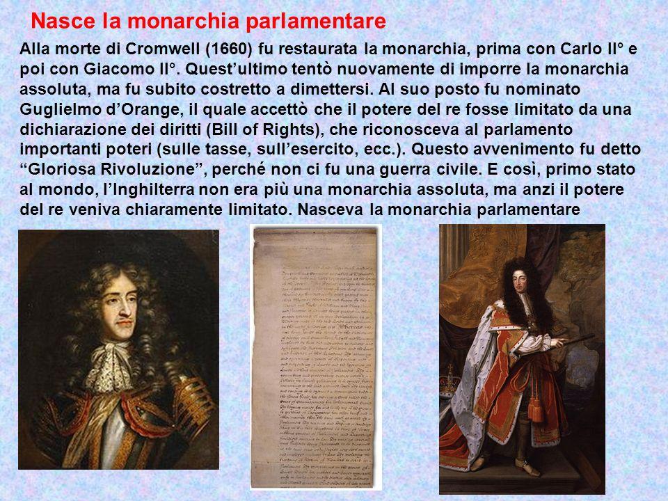 Nasce la monarchia parlamentare Alla morte di Cromwell (1660) fu restaurata la monarchia, prima con Carlo II° e poi con Giacomo II°. Questultimo tentò