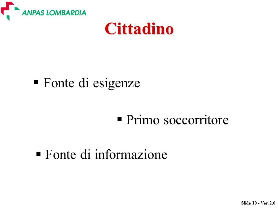 Slide 10 - Ver. 2.0 Cittadino Fonte di esigenze Primo soccorritore Fonte di informazione