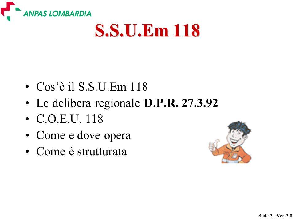 Slide 2 - Ver. 2.0 S.S.U.Em 118 Cosè il S.S.U.Em 118 Le delibera regionale D.P.R. 27.3.92 C.O.E.U. 118 Come e dove opera Come è strutturata