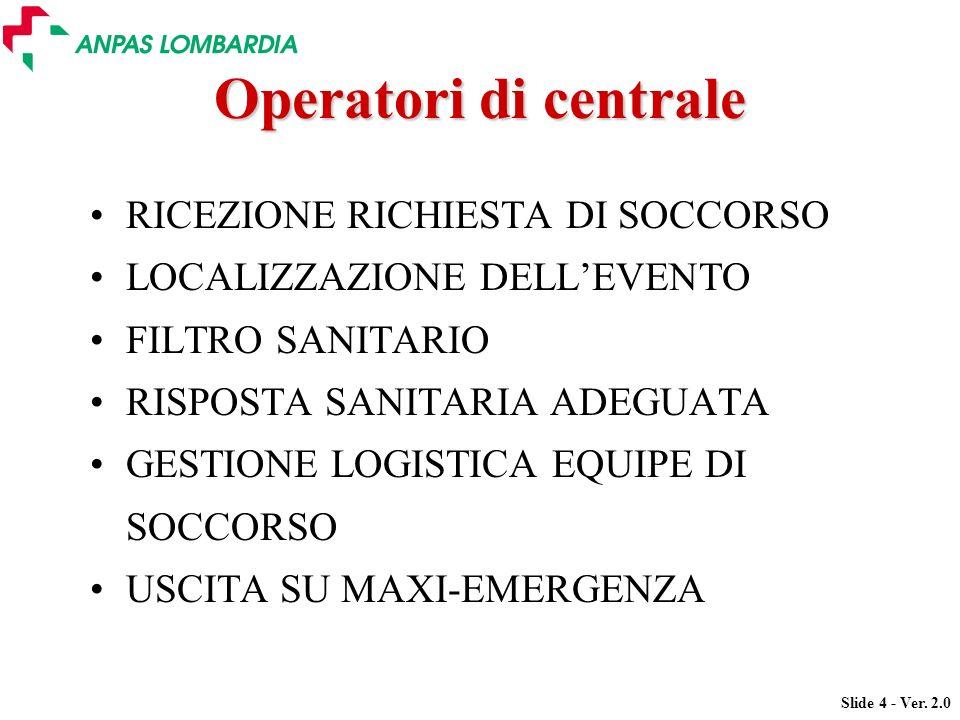 Slide 4 - Ver. 2.0 Operatori di centrale RICEZIONE RICHIESTA DI SOCCORSO LOCALIZZAZIONE DELLEVENTO FILTRO SANITARIO RISPOSTA SANITARIA ADEGUATA GESTIO