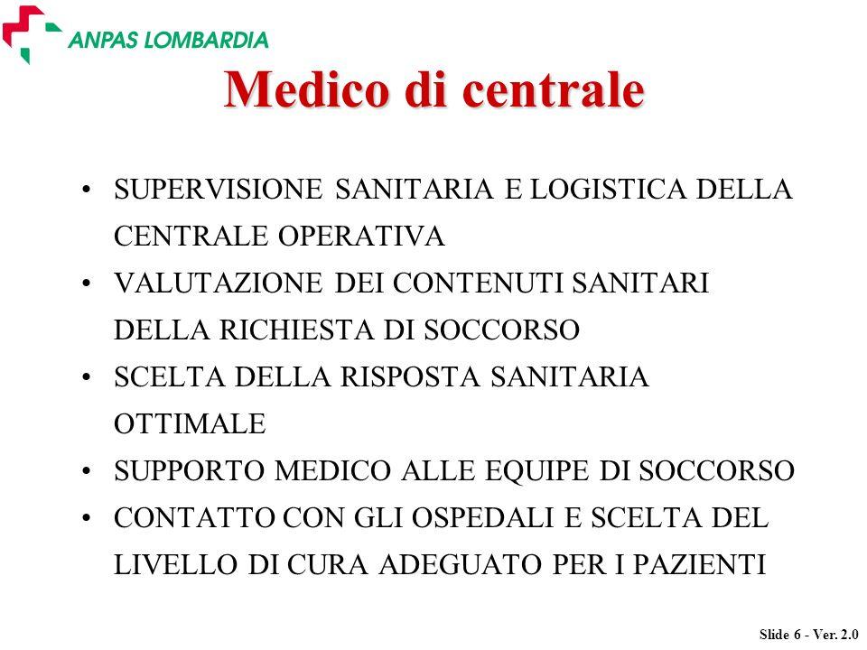 Slide 6 - Ver. 2.0 Medico di centrale SUPERVISIONE SANITARIA E LOGISTICA DELLA CENTRALE OPERATIVA VALUTAZIONE DEI CONTENUTI SANITARI DELLA RICHIESTA D