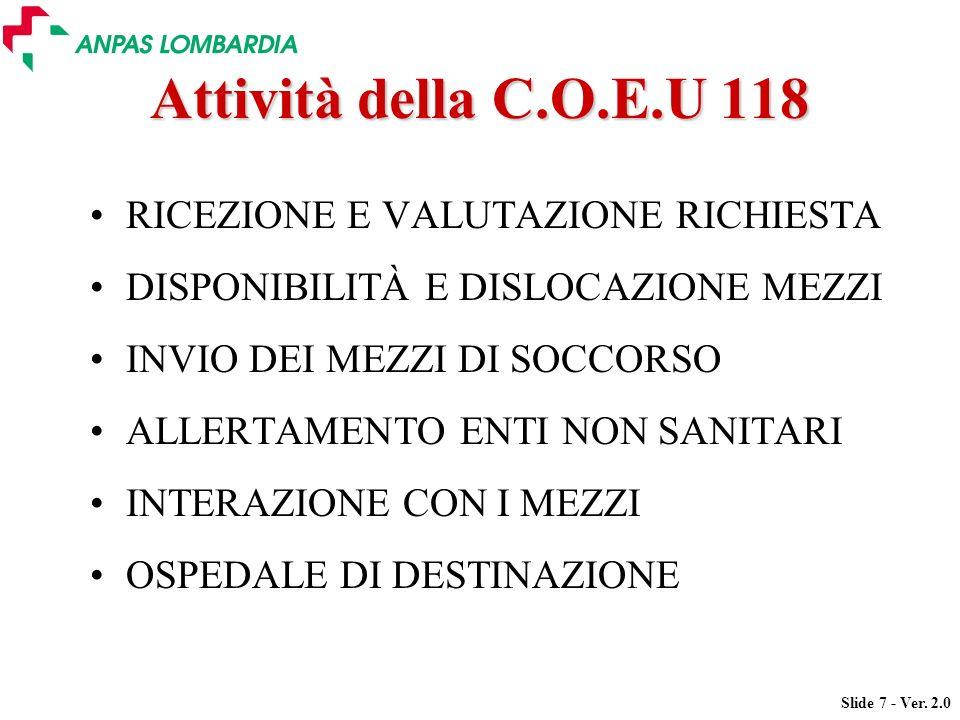 Slide 7 - Ver. 2.0 Attività della C.O.E.U 118 RICEZIONE E VALUTAZIONE RICHIESTA DISPONIBILITÀ E DISLOCAZIONE MEZZI INVIO DEI MEZZI DI SOCCORSO ALLERTA