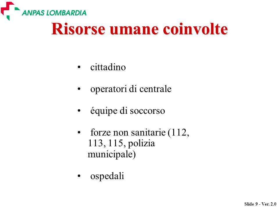 Slide 9 - Ver. 2.0 Risorse umane coinvolte cittadino operatori di centrale équipe di soccorso forze non sanitarie (112, 113, 115, polizia municipale)