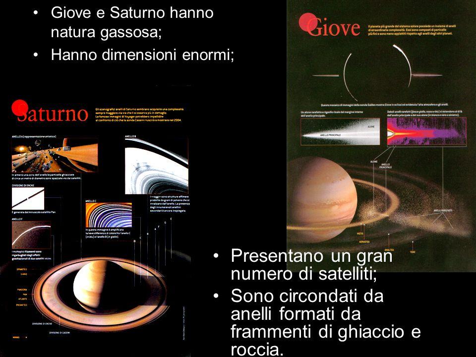 Giove e Saturno hanno natura gassosa; Hanno dimensioni enormi; Presentano un gran numero di satelliti; Sono circondati da anelli formati da frammenti