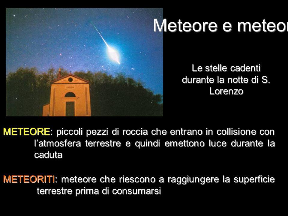 Meteore e meteoriti METEORE: piccoli pezzi di roccia che entrano in collisione con latmosfera terrestre e quindi emettono luce durante la caduta METEO