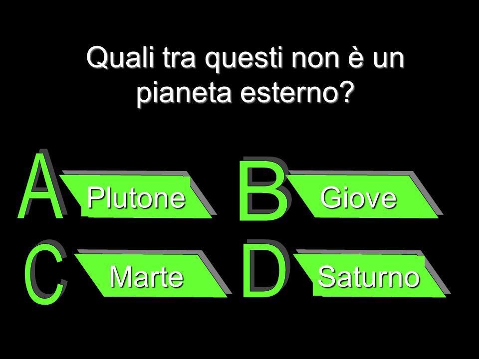 Quali tra questi non è un pianeta esterno? Plutone Giove Marte Saturno