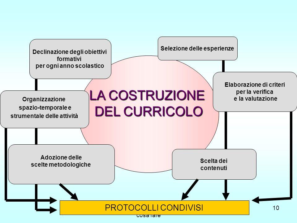 Indicazioni per il Curricolo: cosa fare 10 LA COSTRUZIONE DEL CURRICOLO Adozione delle scelte metodologiche Organizzazione spazio-temporale e strument