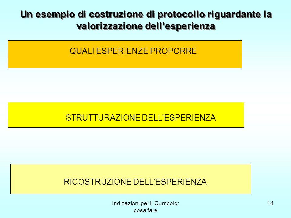Indicazioni per il Curricolo: cosa fare 14 Un esempio di costruzione di protocollo riguardante la valorizzazione dellesperienza QUALI ESPERIENZE PROPO