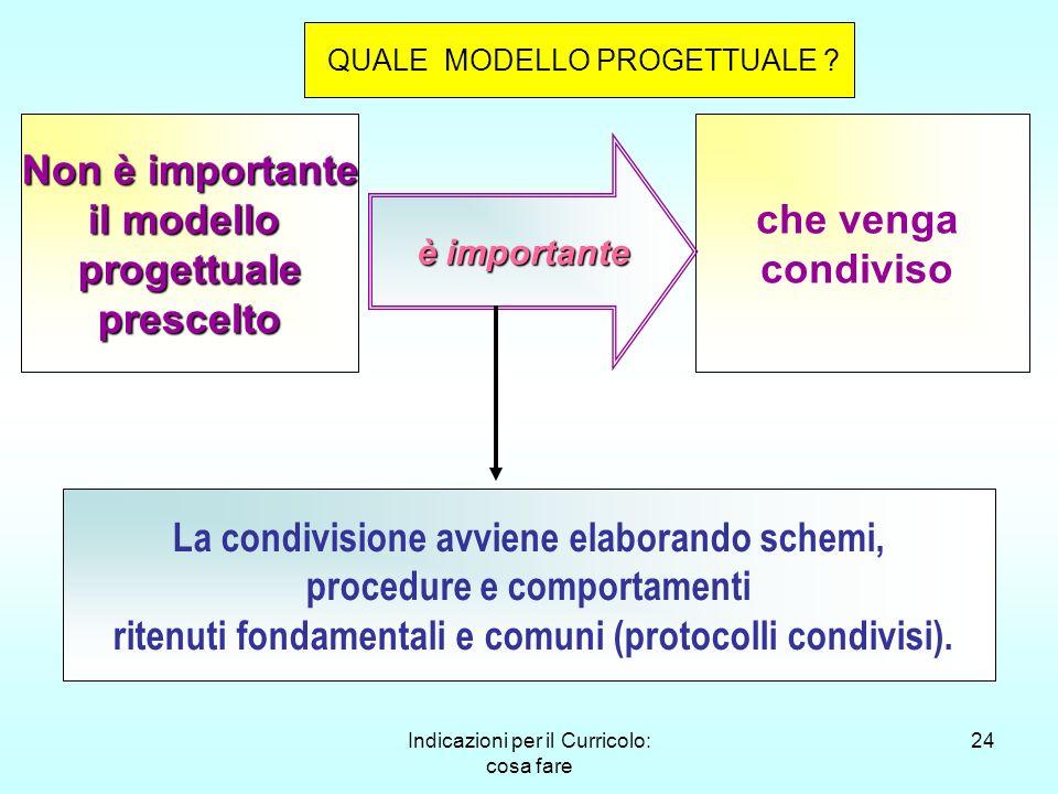 Indicazioni per il Curricolo: cosa fare 24 Non è importante il modello progettualeprescelto che venga condiviso è importante è importante La condivisi