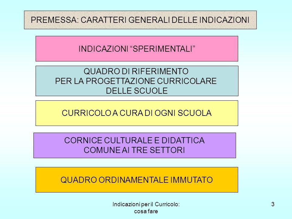 Indicazioni per il Curricolo: cosa fare 3 PREMESSA: CARATTERI GENERALI DELLE INDICAZIONI INDICAZIONI SPERIMENTALI QUADRO DI RIFERIMENTO PER LA PROGETT