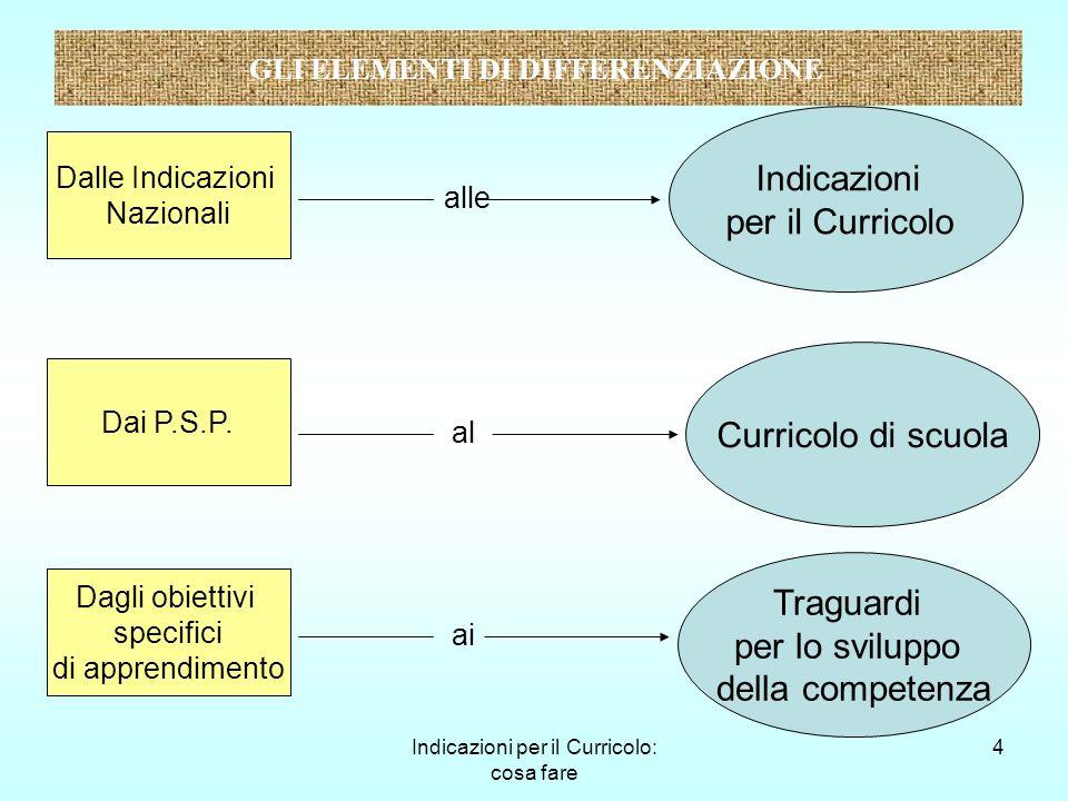 Indicazioni per il Curricolo: cosa fare 5 Gli elementi di caratterizzazione Valorizzazione dellautonomia delle scuole Centralità del soggetto che apprende, ma attenzione alla dimensione sociale Cantiere aperto GLI ELEMENTI DI CARATTERIZZAZIONE