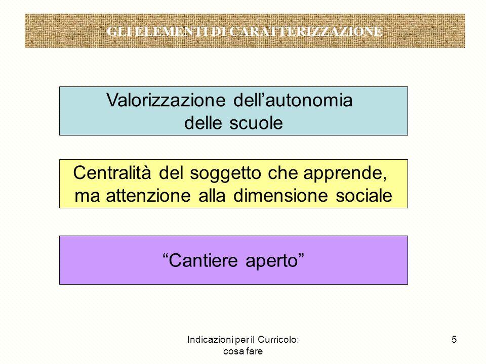Indicazioni per il Curricolo: cosa fare 5 Gli elementi di caratterizzazione Valorizzazione dellautonomia delle scuole Centralità del soggetto che appr