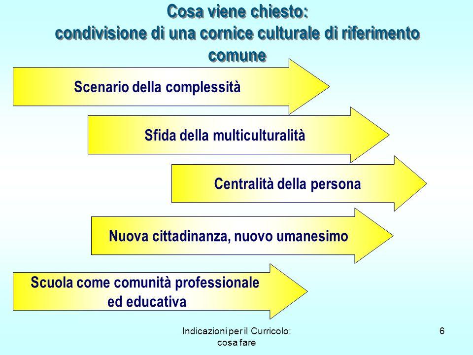 Indicazioni per il Curricolo: cosa fare 6 Cosa viene chiesto: condivisione di una cornice culturale di riferimento comune Scenario della complessità S