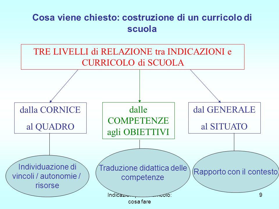Indicazioni per il Curricolo: cosa fare 9 Cosa viene chiesto: costruzione di un curricolo di scuola TRE LIVELLI di RELAZIONE tra INDICAZIONI e CURRICO