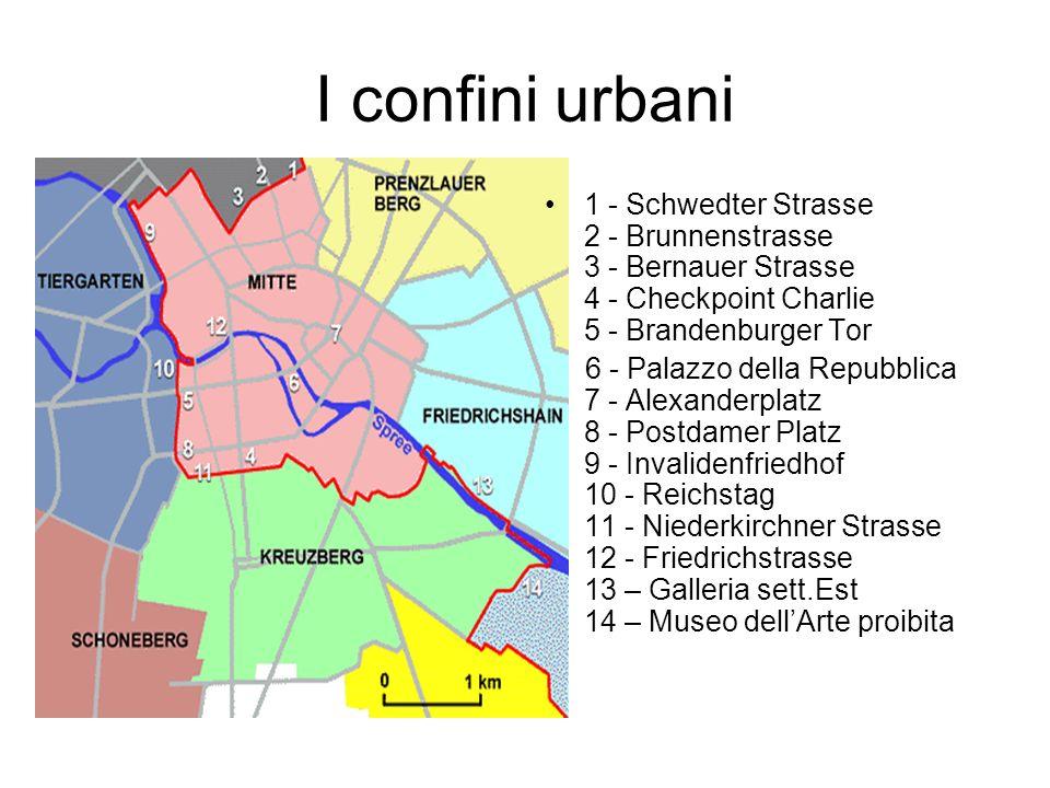 I confini urbani 1 - Schwedter Strasse 2 - Brunnenstrasse 3 - Bernauer Strasse 4 - Checkpoint Charlie 5 - Brandenburger Tor 6 - Palazzo della Repubbli