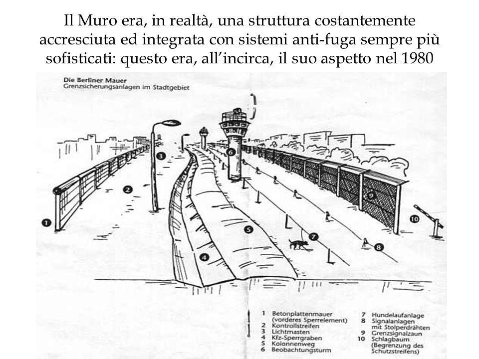 Il Muro era, in realtà, una struttura costantemente accresciuta ed integrata con sistemi anti-fuga sempre più sofisticati: questo era, allincirca, il