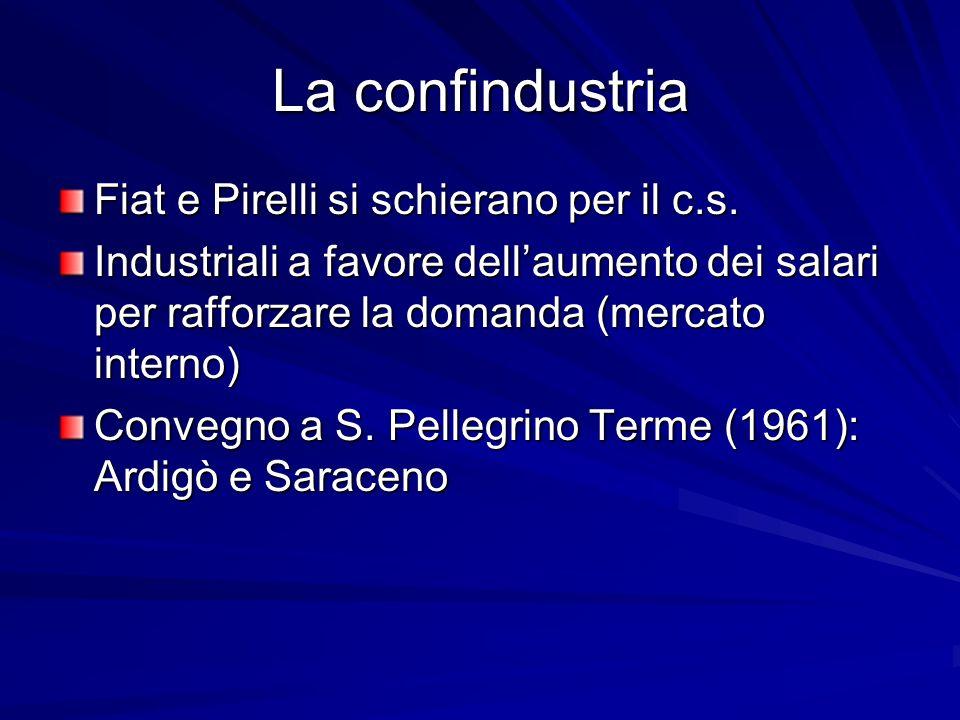 La confindustria Fiat e Pirelli si schierano per il c.s. Industriali a favore dellaumento dei salari per rafforzare la domanda (mercato interno) Conve