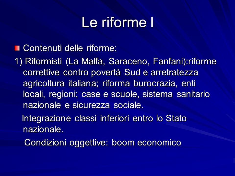 Le riforme I Contenuti delle riforme: 1) Riformisti (La Malfa, Saraceno, Fanfani):riforme correttive contro povertà Sud e arretratezza agricoltura ita