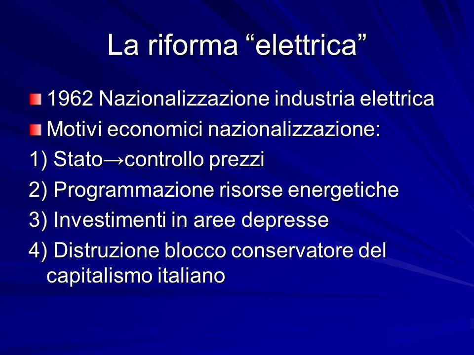 La riforma elettrica 1962 Nazionalizzazione industria elettrica Motivi economici nazionalizzazione: 1) Statocontrollo prezzi 2) Programmazione risorse