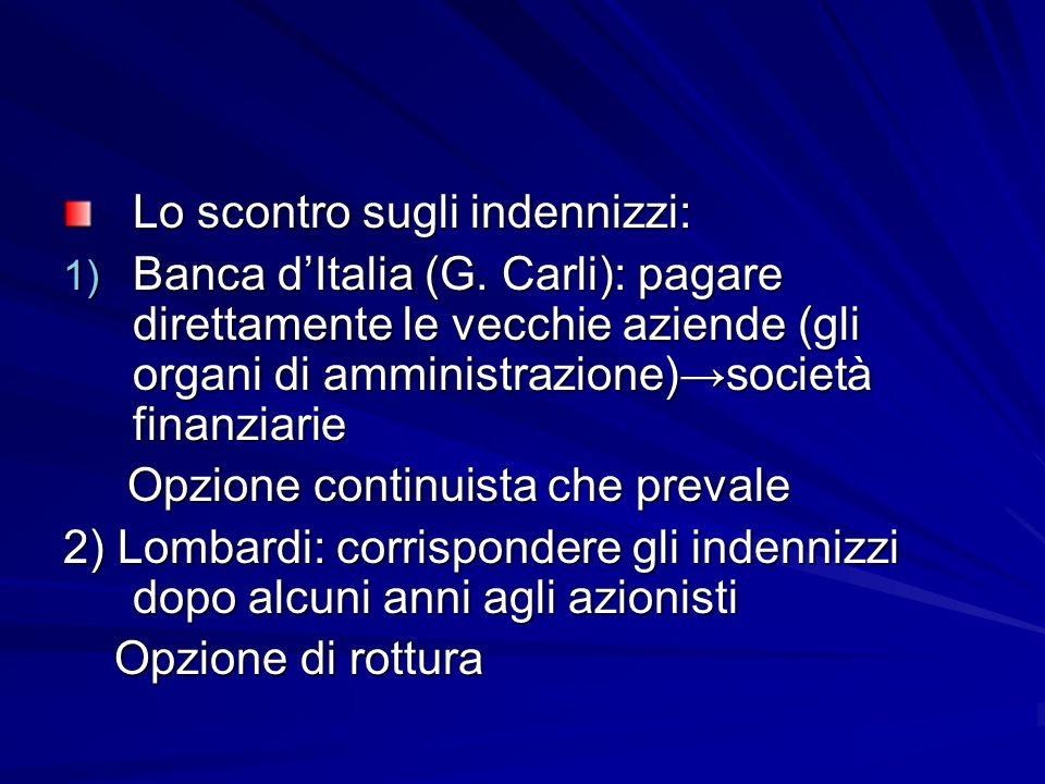 Lo scontro sugli indennizzi: 1) Banca dItalia (G. Carli): pagare direttamente le vecchie aziende (gli organi di amministrazione)società finanziarie Op