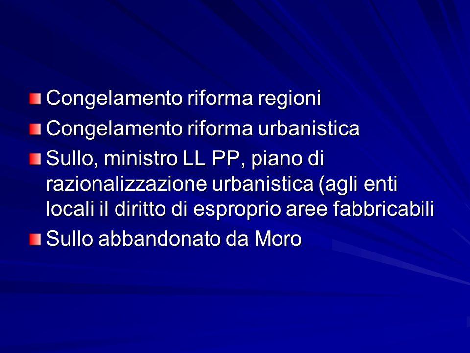 Congelamento riforma regioni Congelamento riforma urbanistica Sullo, ministro LL PP, piano di razionalizzazione urbanistica (agli enti locali il dirit