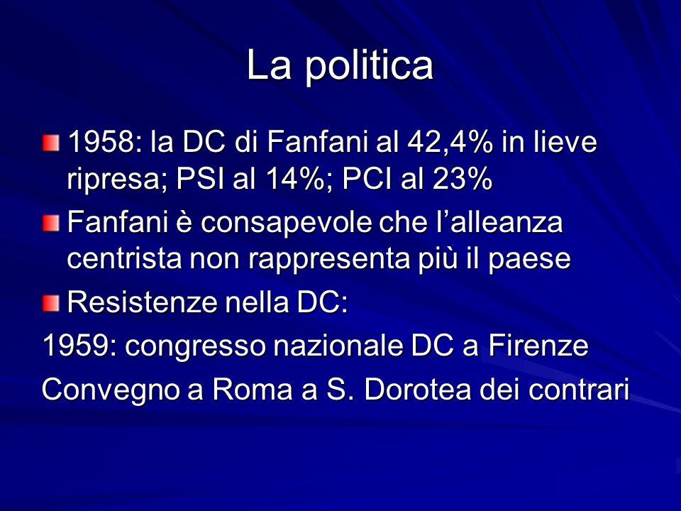 La politica 1958: la DC di Fanfani al 42,4% in lieve ripresa; PSI al 14%; PCI al 23% Fanfani è consapevole che lalleanza centrista non rappresenta più