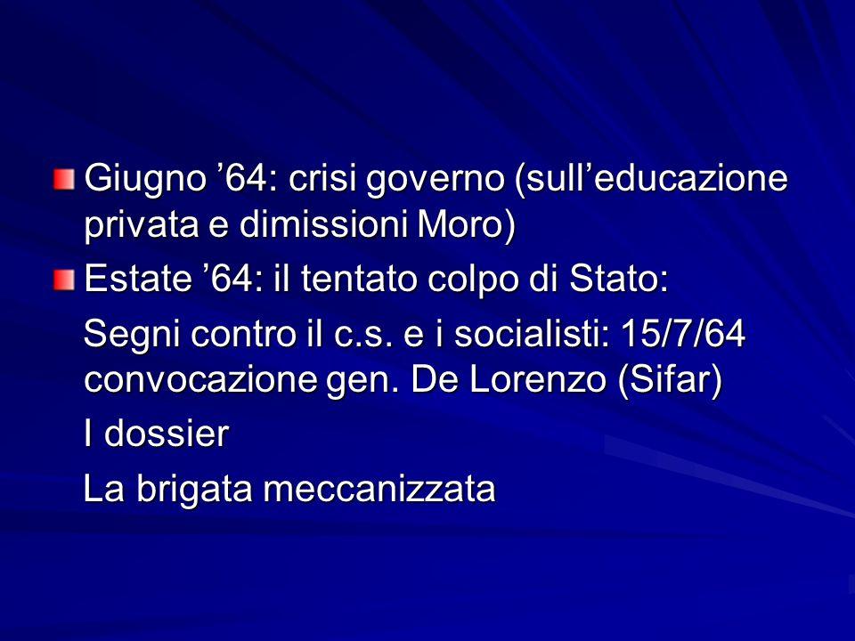 Giugno 64: crisi governo (sulleducazione privata e dimissioni Moro) Estate 64: il tentato colpo di Stato: Segni contro il c.s. e i socialisti: 15/7/64