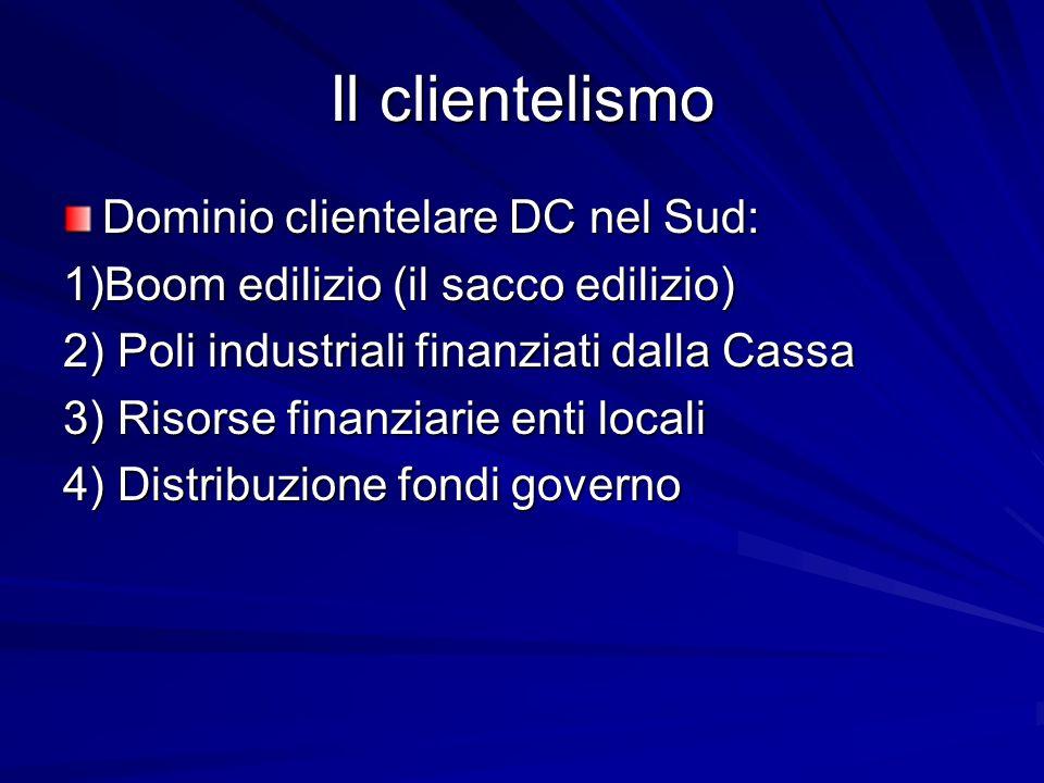 Il clientelismo Dominio clientelare DC nel Sud: 1)Boom edilizio (il sacco edilizio) 2) Poli industriali finanziati dalla Cassa 3) Risorse finanziarie