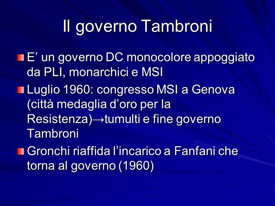 Il governo Tambroni E un governo DC monocolore appoggiato da PLI, monarchici e MSI Luglio 1960: congresso MSI a Genova (città medaglia doro per la Res