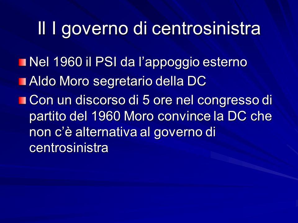 Il I governo di centrosinistra Nel 1960 il PSI da lappoggio esterno Aldo Moro segretario della DC Con un discorso di 5 ore nel congresso di partito de