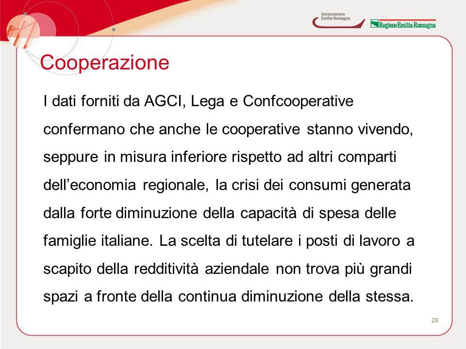 Cooperazione 28 I dati forniti da AGCI, Lega e Confcooperative confermano che anche le cooperative stanno vivendo, seppure in misura inferiore rispetto ad altri comparti delleconomia regionale, la crisi dei consumi generata dalla forte diminuzione della capacità di spesa delle famiglie italiane.