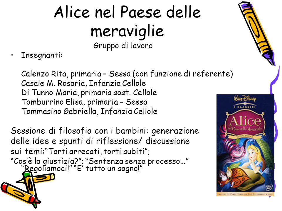 Alice nel Paese delle meraviglie Gruppo di lavoro Insegnanti: Calenzo Rita, primaria – Sessa (con funzione di referente) Casale M. Rosaria, Infanzia C