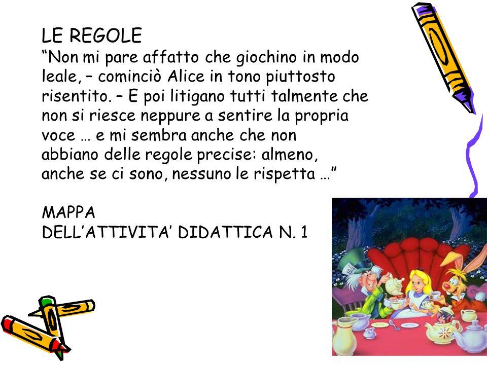 LE REGOLE Non mi pare affatto che giochino in modo leale, – cominciò Alice in tono piuttosto risentito. – E poi litigano tutti talmente che non si rie