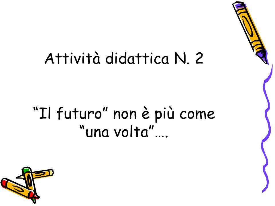 Attività didattica N. 2 Il futuro non è più come una volta….