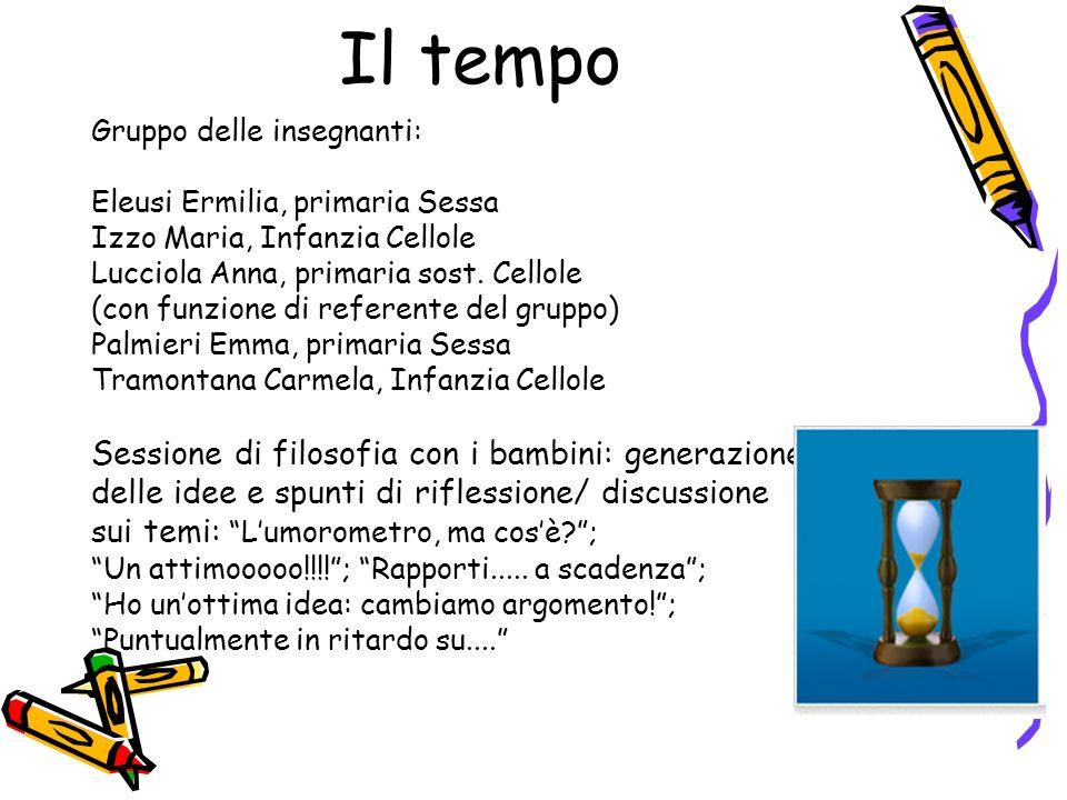 Il tempo Gruppo delle insegnanti: Eleusi Ermilia, primaria Sessa Izzo Maria, Infanzia Cellole Lucciola Anna, primaria sost.