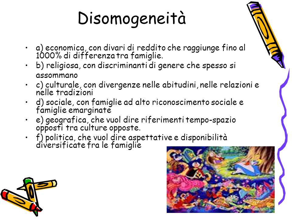 Disomogeneità a) economica, con divari di reddito che raggiunge fino al 1000% di differenza tra famiglie. b) religiosa, con discriminanti di genere ch