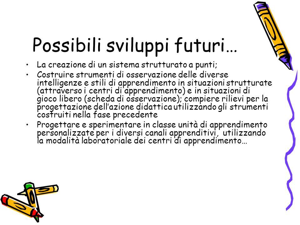 Possibili sviluppi futuri… La creazione di un sistema strutturato a punti; Costruire strumenti di osservazione delle diverse intelligenze e stili di a