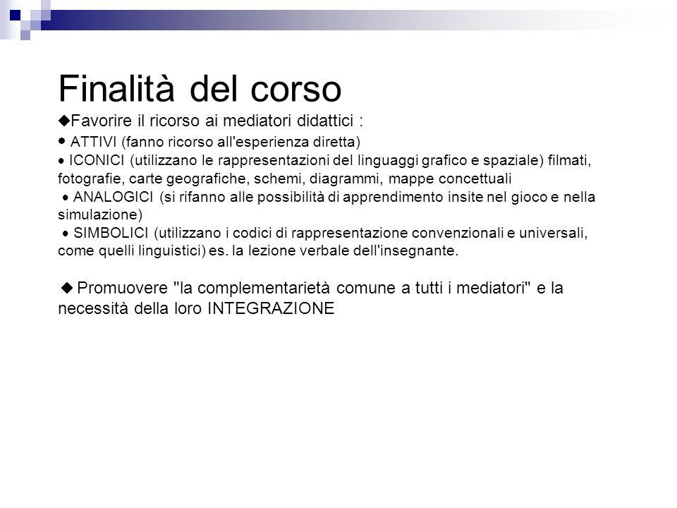 Finalità del corso Favorire il ricorso ai mediatori didattici : ATTIVI (fanno ricorso all'esperienza diretta) ICONICI (utilizzano le rappresentazioni