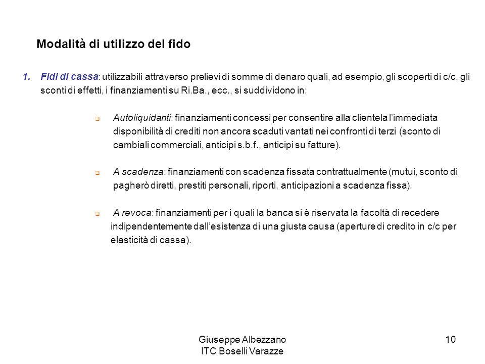 Giuseppe Albezzano ITC Boselli Varazze 10 Modalità di utilizzo del fido 1.Fidi di cassa: utilizzabili attraverso prelievi di somme di denaro quali, ad
