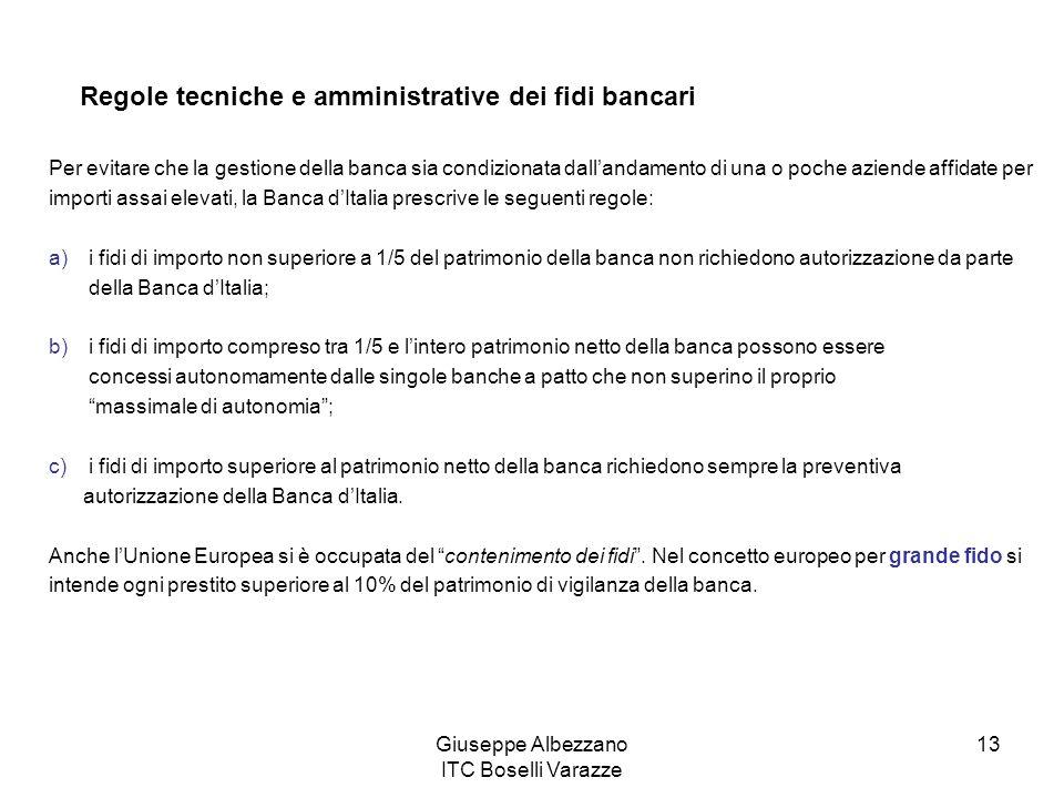 Giuseppe Albezzano ITC Boselli Varazze 13 Regole tecniche e amministrative dei fidi bancari Per evitare che la gestione della banca sia condizionata d