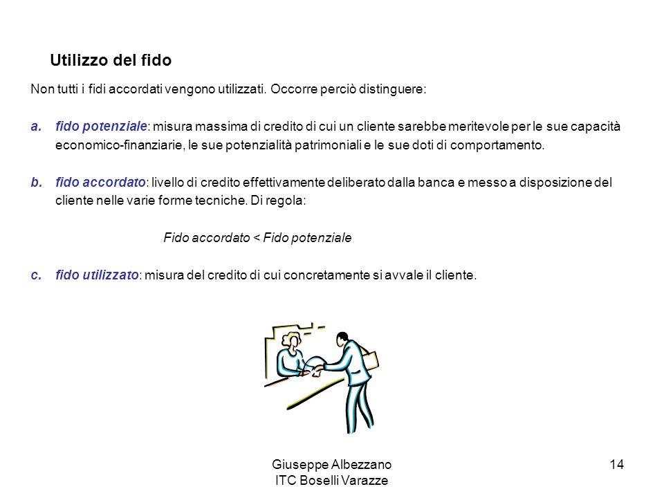 Giuseppe Albezzano ITC Boselli Varazze 14 Utilizzo del fido Non tutti i fidi accordati vengono utilizzati. Occorre perciò distinguere: a.fido potenzia