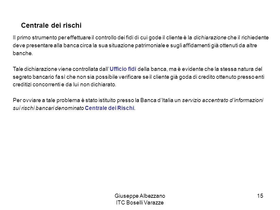 Giuseppe Albezzano ITC Boselli Varazze 15 Centrale dei rischi Il primo strumento per effettuare il controllo dei fidi di cui gode il cliente è la dich
