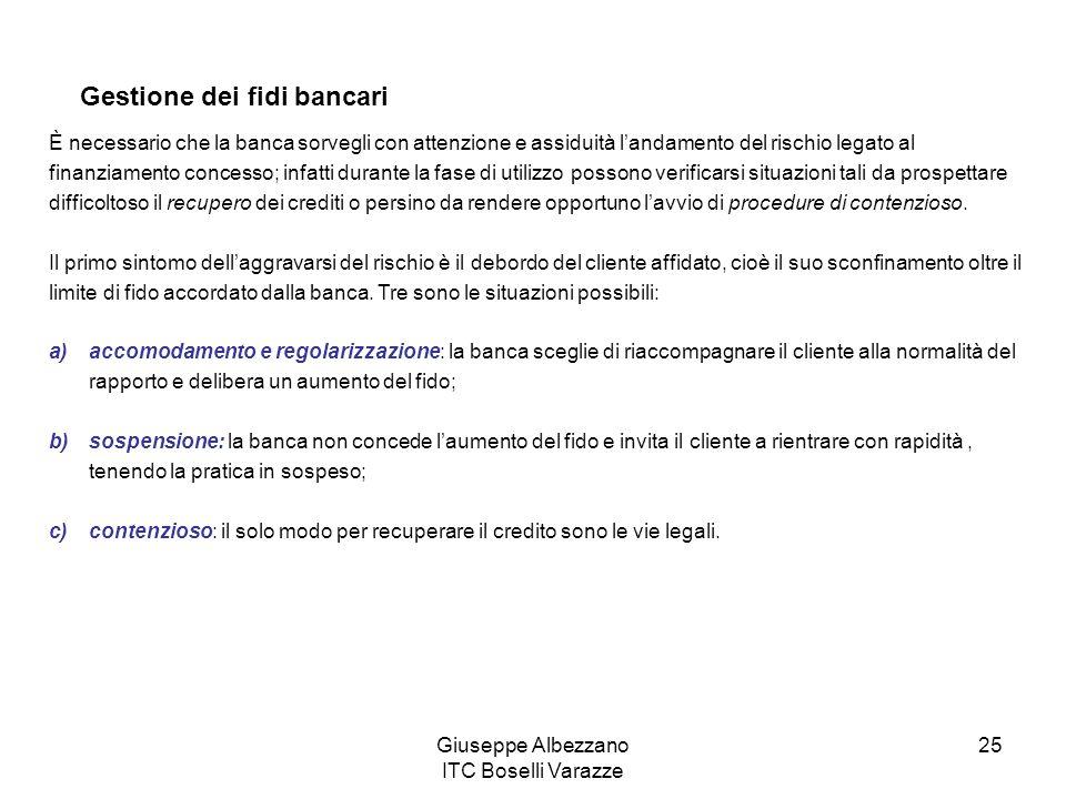 Giuseppe Albezzano ITC Boselli Varazze 25 Gestione dei fidi bancari È necessario che la banca sorvegli con attenzione e assiduità landamento del risch