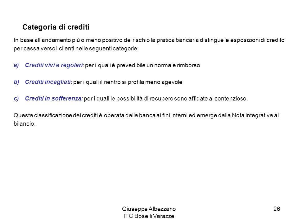 Giuseppe Albezzano ITC Boselli Varazze 26 Categoria di crediti In base allandamento più o meno positivo del rischio la pratica bancaria distingue le e