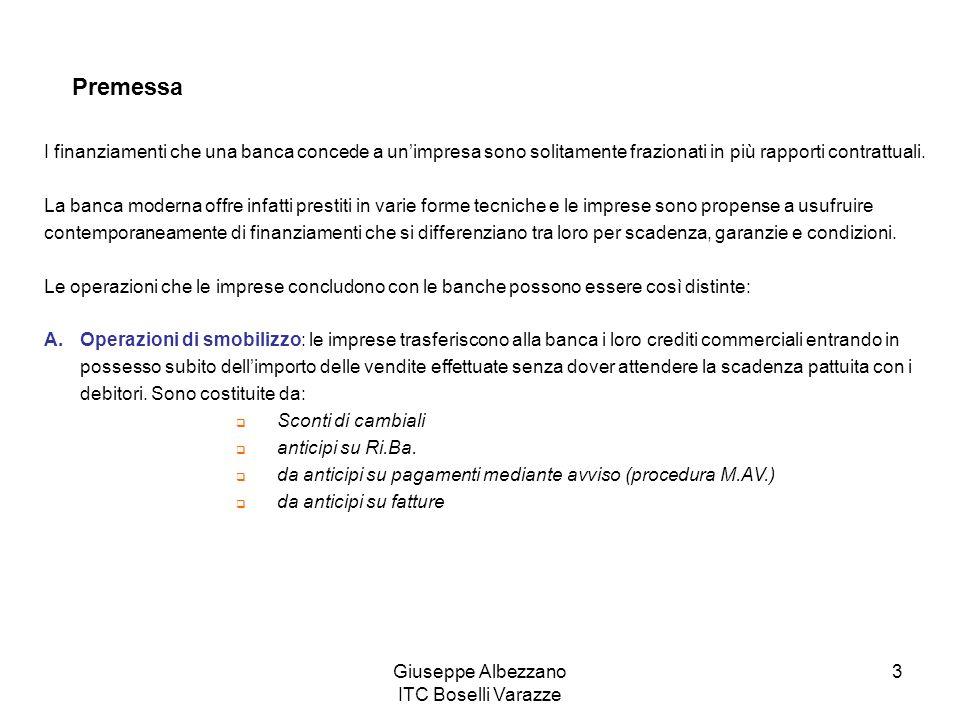 Giuseppe Albezzano ITC Boselli Varazze 3 Premessa I finanziamenti che una banca concede a unimpresa sono solitamente frazionati in più rapporti contra