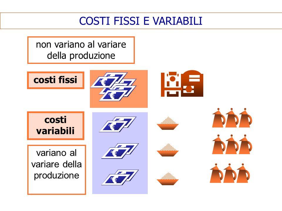 COSTI FISSI E VARIABILI costi fissi costi variabili non variano al variare della produzione variano al variare della produzione